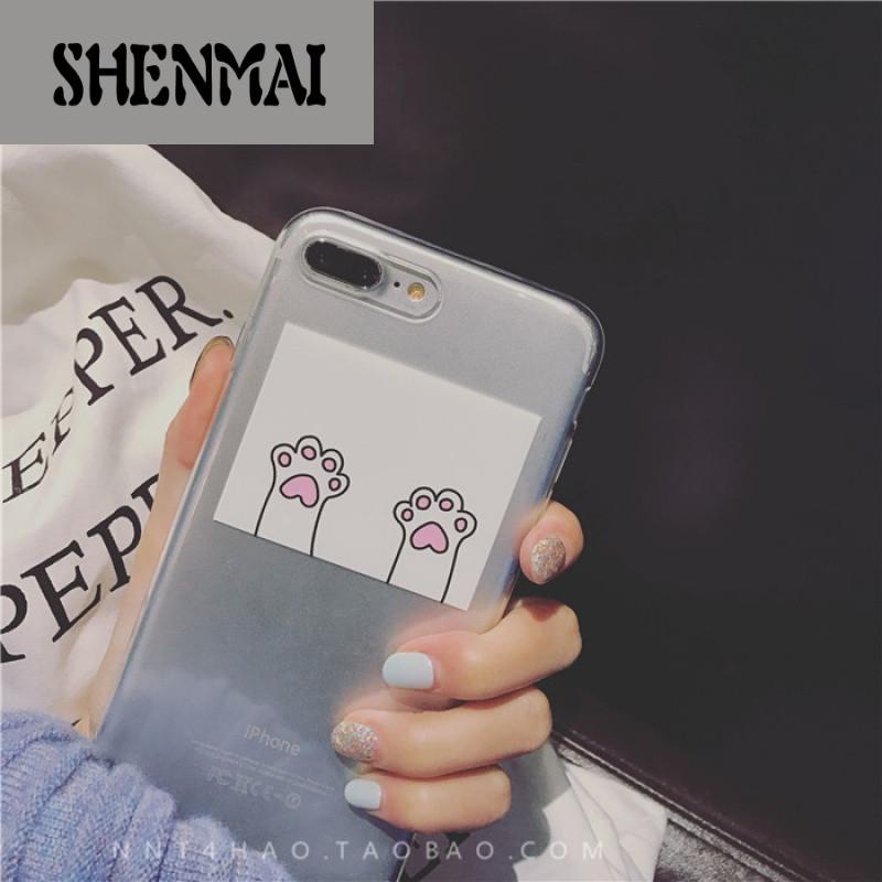 shm品牌牛奶糖4号可爱猫爪软壳苹果6手机壳iphone7/6s/plus透明全包软