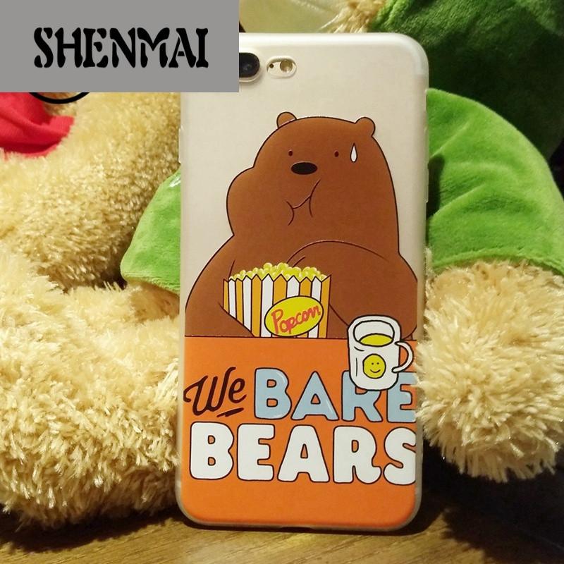 shm品牌小清新苹果7手机壳半透可爱卡通熊iphone7plus