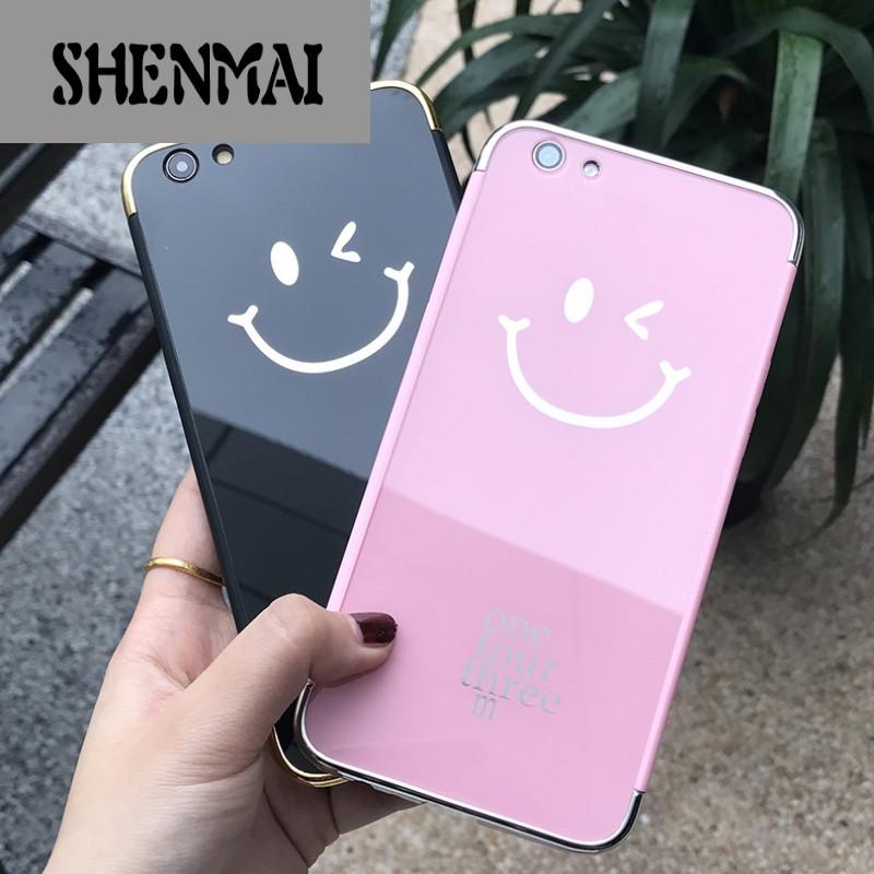 shm品牌日韩可爱hello笑脸华为p10手机壳镜面防摔华为