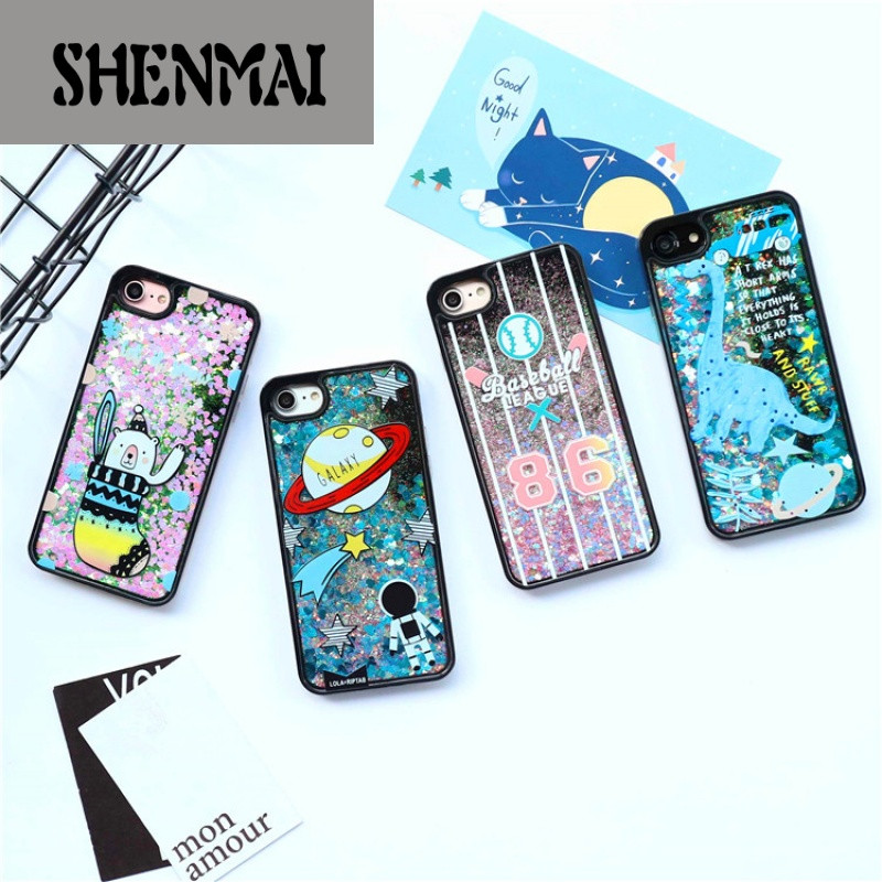 shm品牌韩国可爱星球苹果6s/7手机壳iphone6p/7plus流沙闪粉保护套软