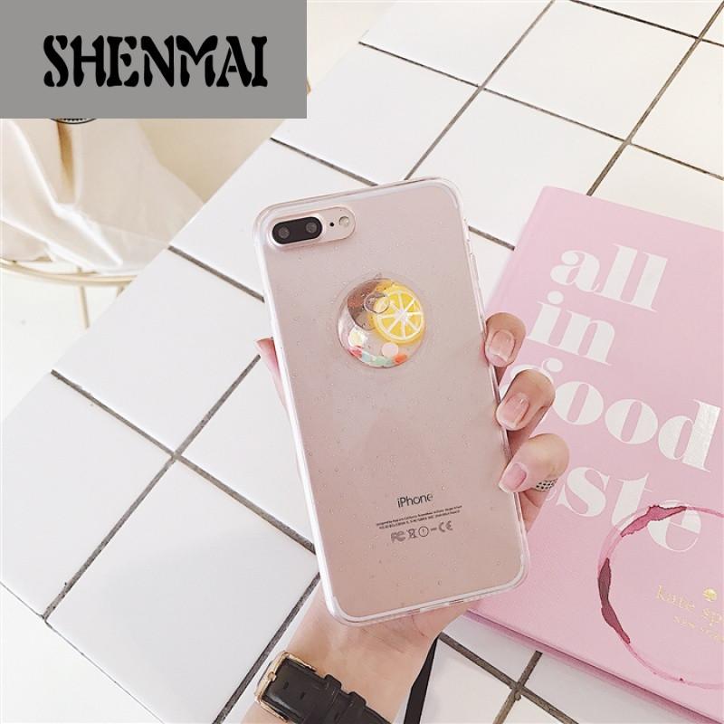 shm品牌苹果7plus手机壳夏日小清新可爱西瓜iphone6s硅胶全包透明7p软