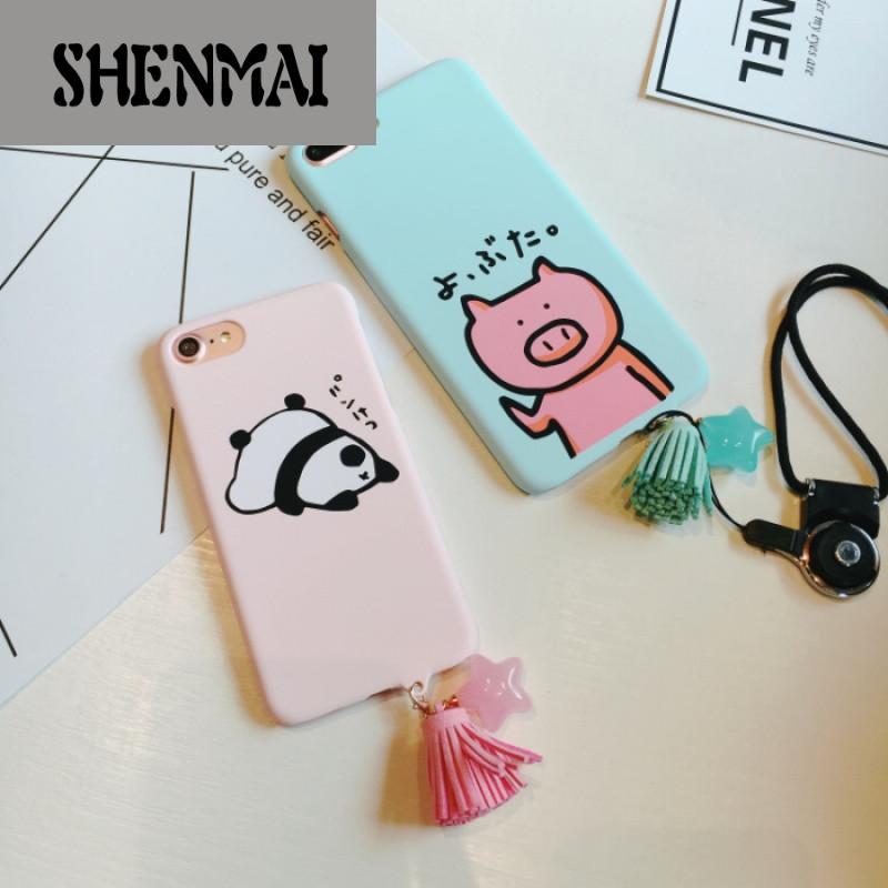 shm品牌可爱卡通猪iphone7plus手机壳流苏星星吊坠6splus熊猫硬壳挂绳