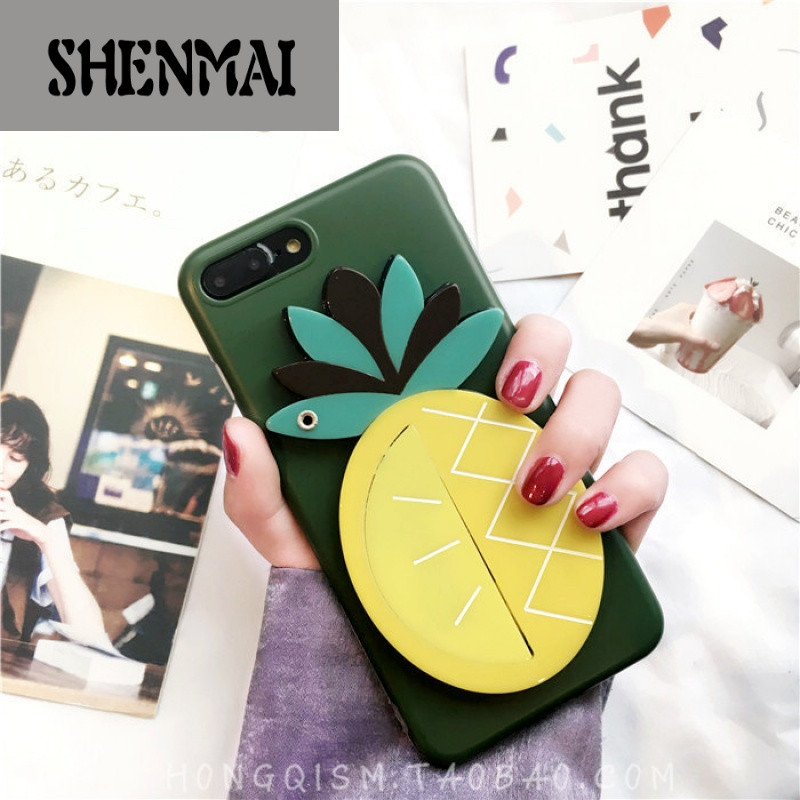 shm品牌苹果7可爱手机壳iphone6plus创意水果小镜子软