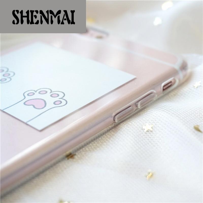 shm品牌可爱小清新卡通iphone7plus手机壳猫爪苹果6s透明软壳包边保护