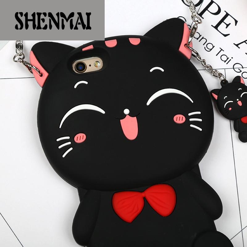 shm品牌卡通可爱猫咪手机壳6plus挂绳脖女款苹果6s立体软胶iphone7萌8