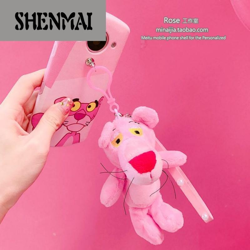 shm品牌红粉色卡通公仔手绳美图m4v4m6s手机壳m8/t8硅胶软壳全包可爱