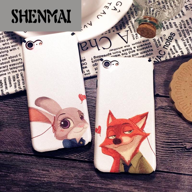 shm品牌iphone7疯狂动物城兔子狐狸情侣苹果8plus手机