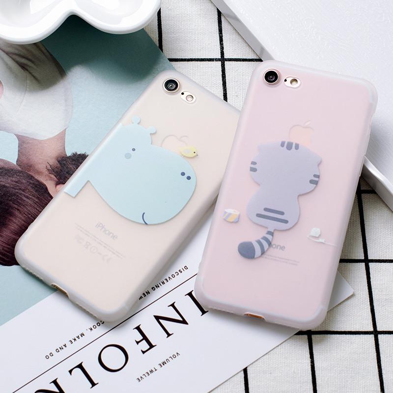 621款河马猫咪iphone6手机壳可爱卡通苹果6s硅胶外壳磨砂透明7plus软