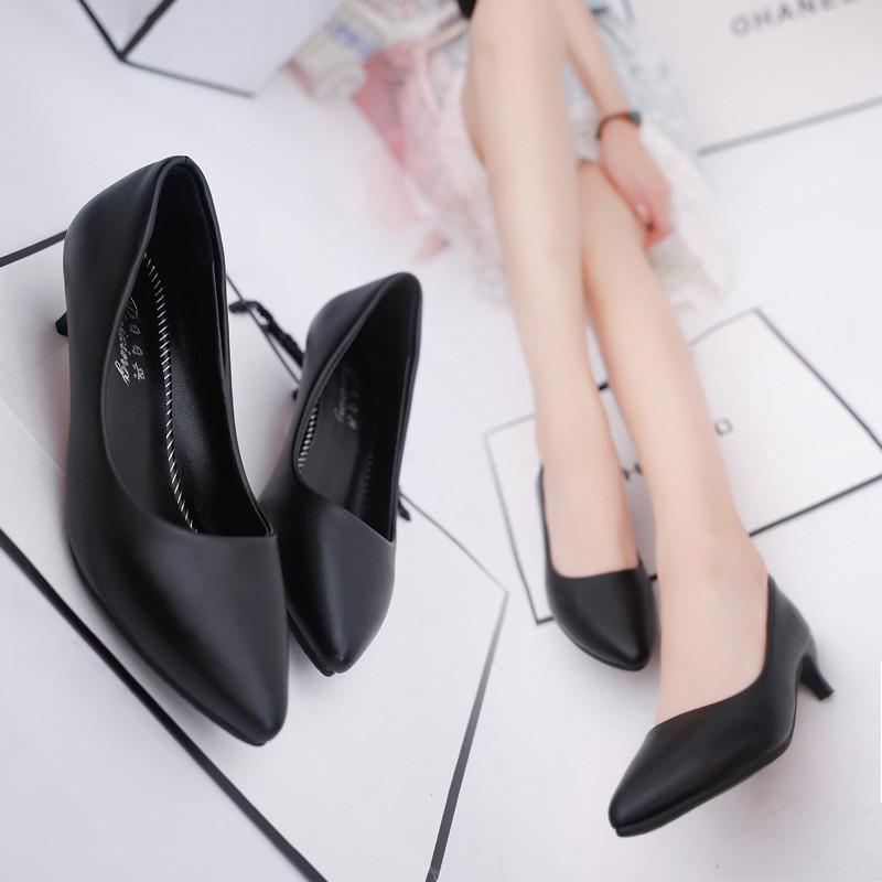 新款小跟女鞋矮跟工作鞋黑色皮鞋低跟单鞋女夏尖头细跟高跟鞋3-5厘米6