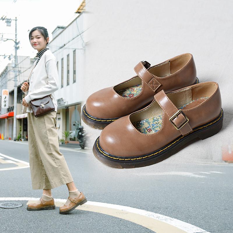 新款复古女鞋丑萌鞋森女日系玛丽珍单鞋可爱圆头学院风娃娃小皮鞋软妹