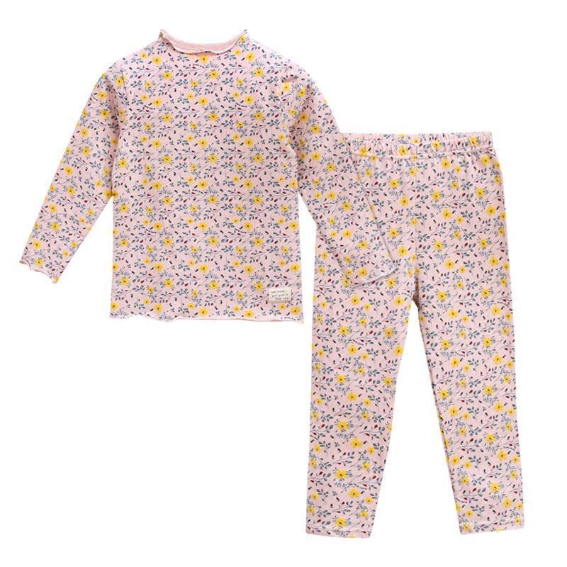 新款女童装保暖内衣儿童全纯棉秋衣秋裤套装小孩宝宝木耳边打底睡衣服