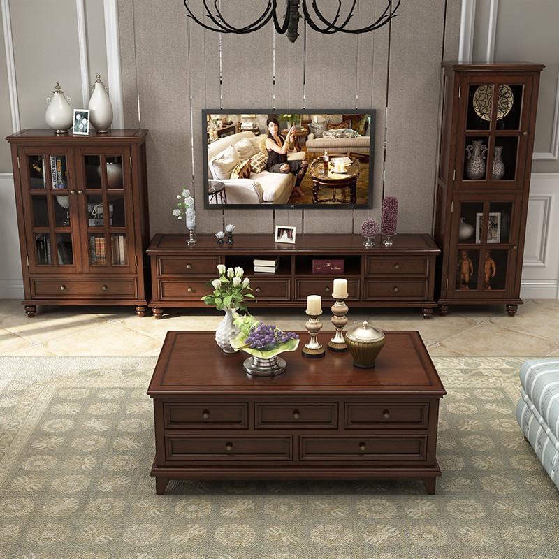 亚伯伦 美式电视柜 实木欧式茶几电视柜组合套装 复古图片