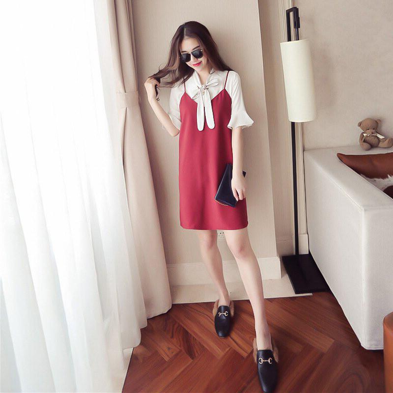 2017新款韩版学生小清新衬衫吊带裙子女夏季显瘦两件套连衣裙短裙图片