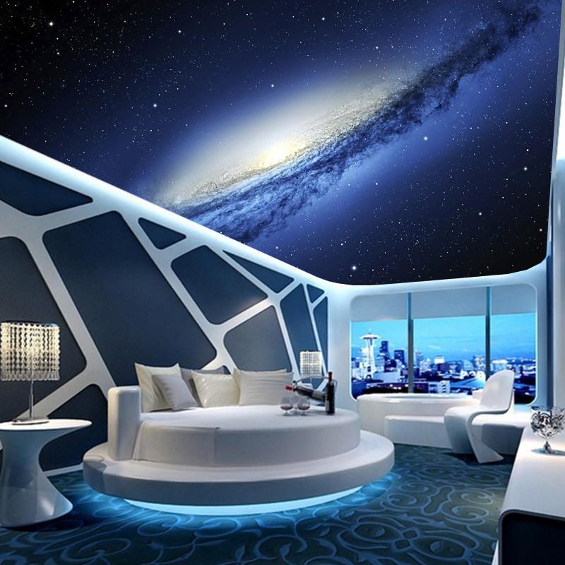 塞拉维宇宙星空天花板吊顶壁纸客厅卧室ktv包房屋顶房顶墙纸墙布装饰图片