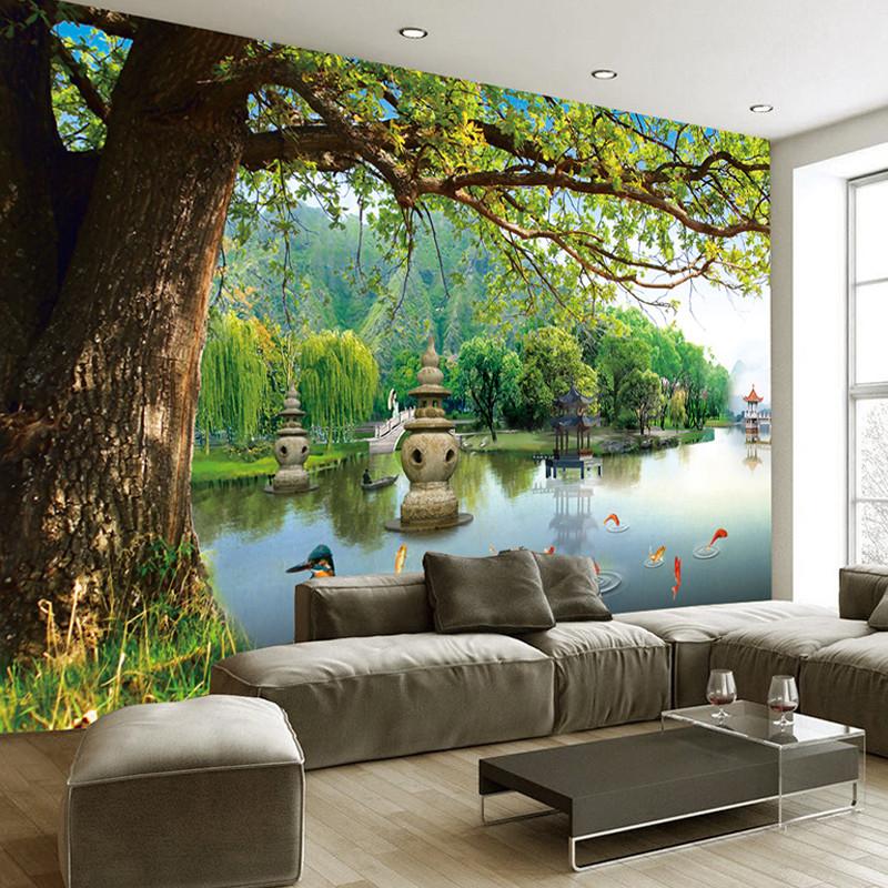 塞拉维绿色大树3d电视背景墙壁纸墙布现代简约客厅影视沙发墙纸壁画