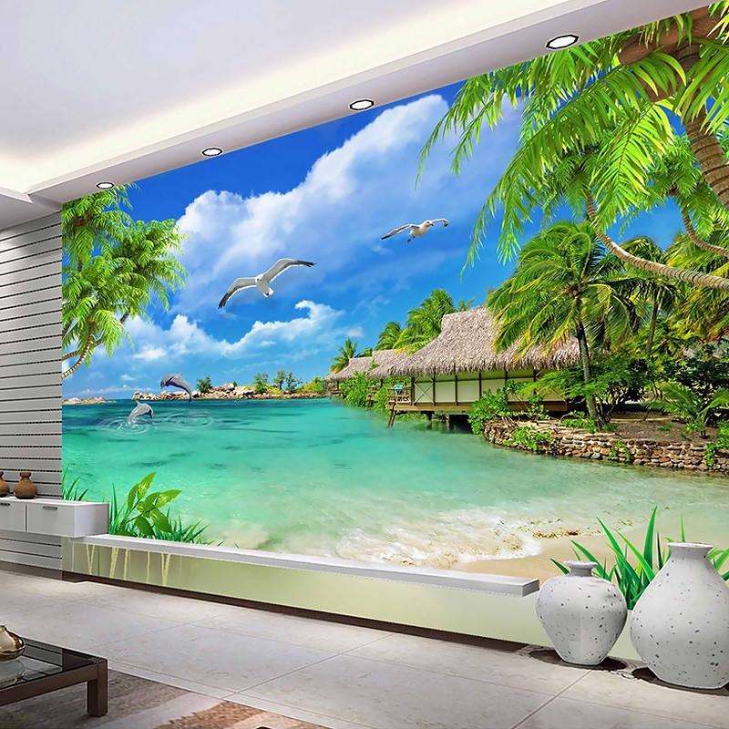 塞拉维3d电视沙发背景墙壁画蓝天白云大海风景墙布壁纸无缝定做