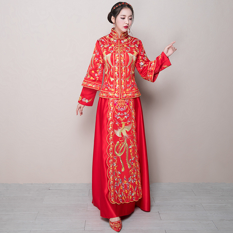 秀禾服新娘礼服嫁衣2017新款中式婚纱敬酒服红色旗袍古装中国风女