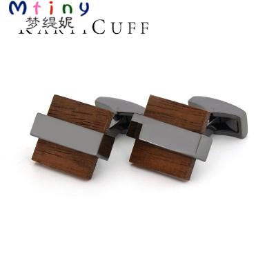 Mtiny創意黑胡桃木袖扣 法式雙疊袖襯衣扣 槍黑商務簡約男士袖釘禮物