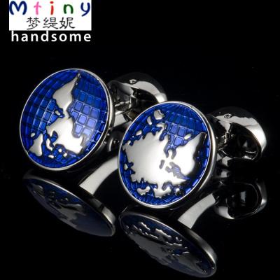 Mtiny世界版圖袖扣藍色搪瓷法式袖扣鈕男士袖釘襯衫扣袖口扣 Cufflinks