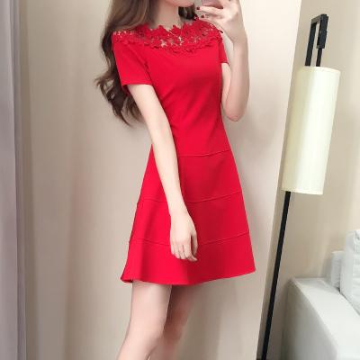 【新款2019】敬酒服新娘红色夏季连衣裙一字肩短袖孕妇短款回门订婚结婚礼服女-定制款