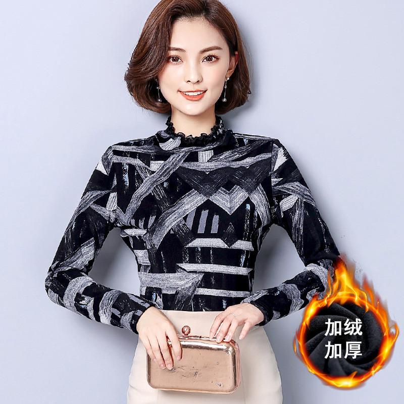 阿妮萱2017加绒打底衫女长袖韩版冬季新款印