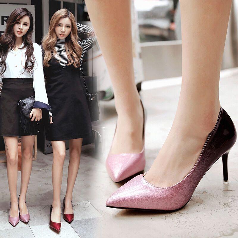 opzc渐变色女鞋春季高跟鞋浅口细跟女单鞋伴娘婚鞋lwj