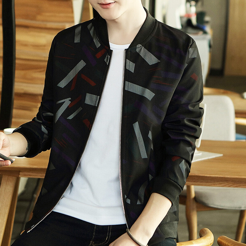 opzc春季新款男式夹克衫印花立领棒球服青少年韩版帅气迷彩外套男
