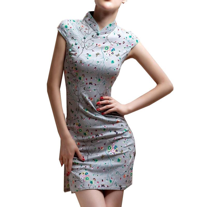 opzc中式棉麻旗袍短款大码日常花色表演出夏季旗袍连衣裙少女修身兰花