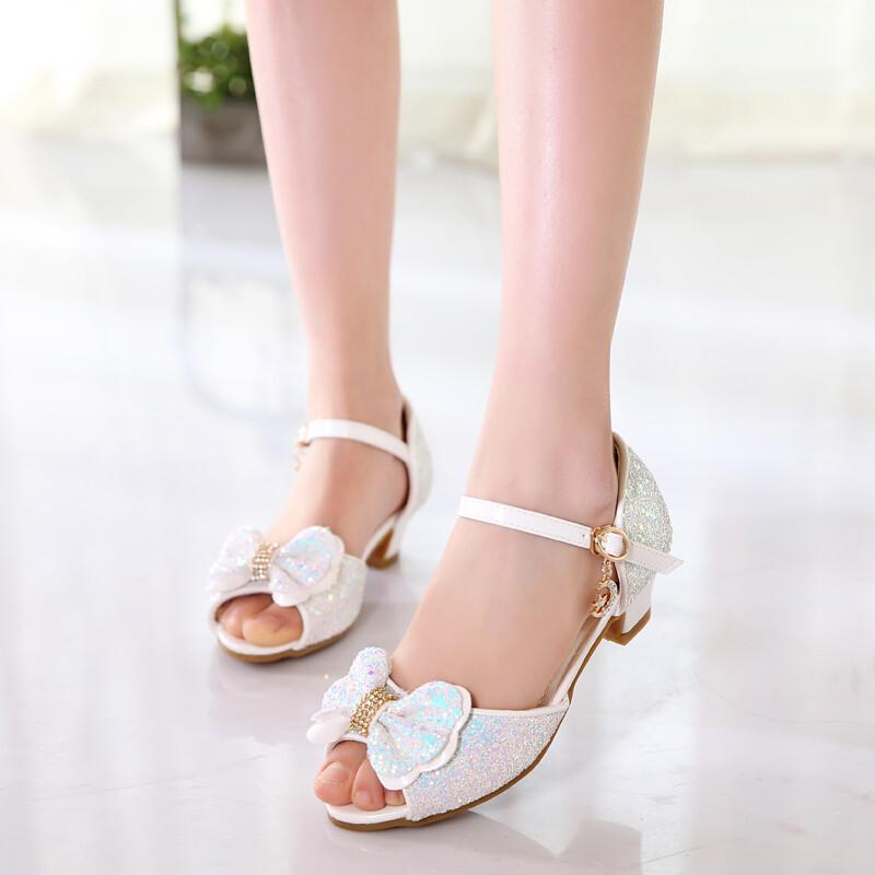 opzc夏季新款女童凉鞋韩版小女孩中大童公主鞋儿童凉鞋高跟女童鞋