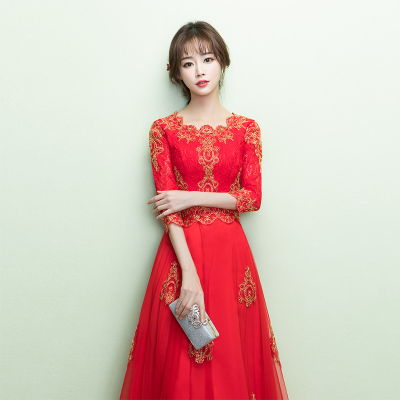 818款敬酒服新娘2018新款長款中式結婚衣服女紅色婚宴禮服中國風婚禮夏-定制款