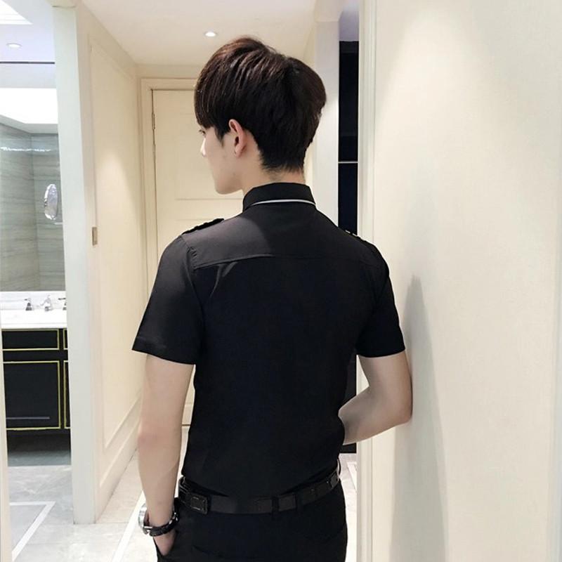 818款空少制服发型师潮男士修身酒吧ktv服务员男模演出工作服短袖衬衫图片