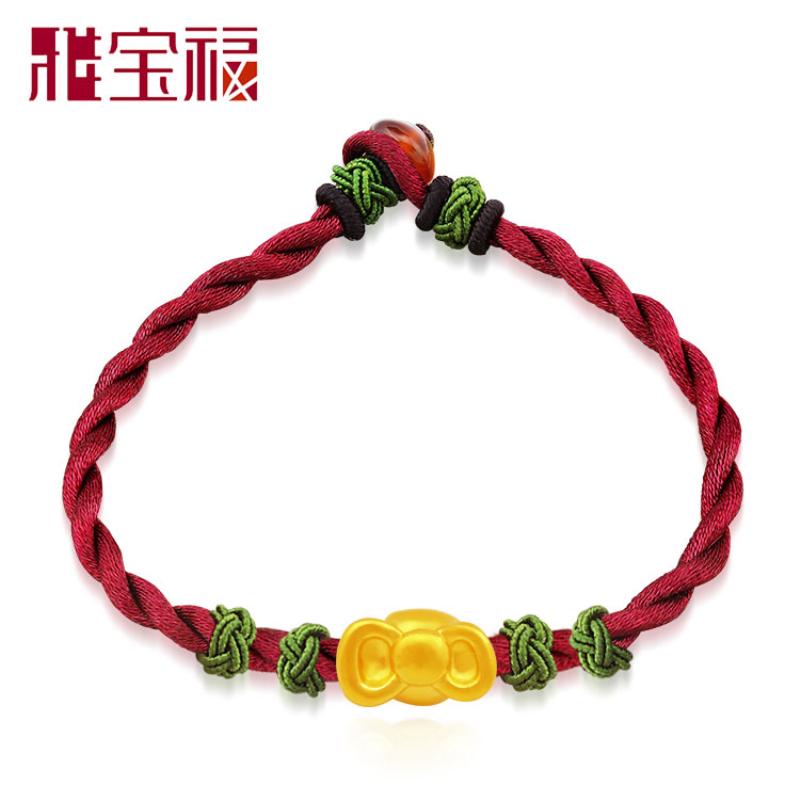 雅宝福 足金3d硬金黄金串珠转运珠红绳手链 蝴蝶结送女友礼物