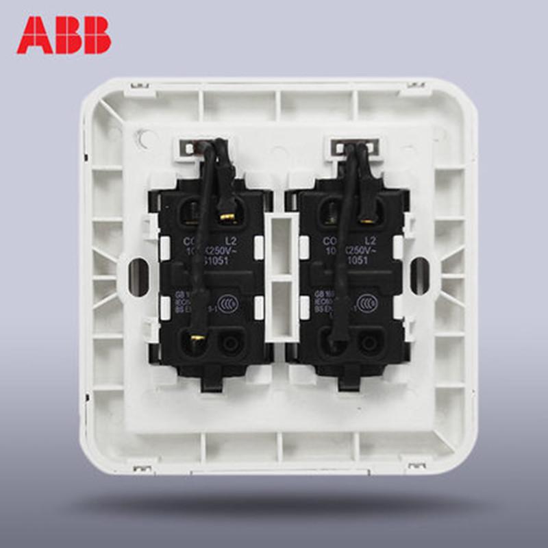 abb开关插座 德静雅白二开双控开关带灯led 双开双控开关aj165