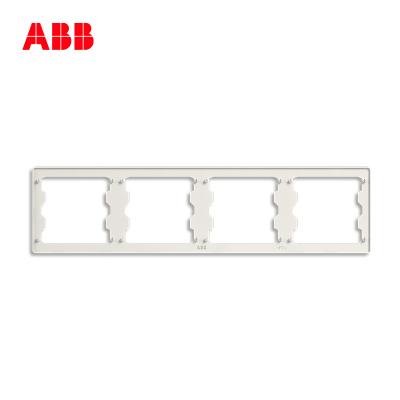 ABB開關插座無框軒致雅典白墻壁86型插座面板四位多聯安裝框AF641