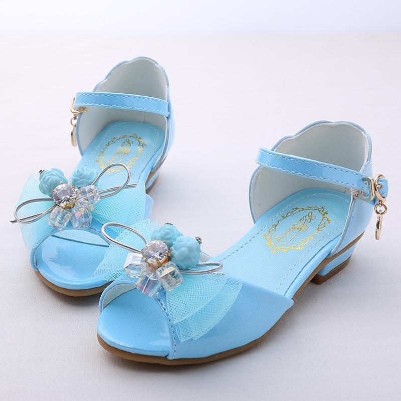 娉语童鞋女童凉鞋2018夏季新款韩版鱼嘴儿童高跟凉鞋女孩公主学生凉鞋