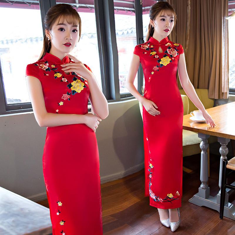 娉语红色新娘2018新款女式婚庆礼仪迎宾旗袍 短袖长款