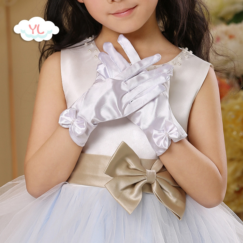 娉语可爱儿童韩版小女孩儿童公主手套演出生日装女童主持宝宝春夏