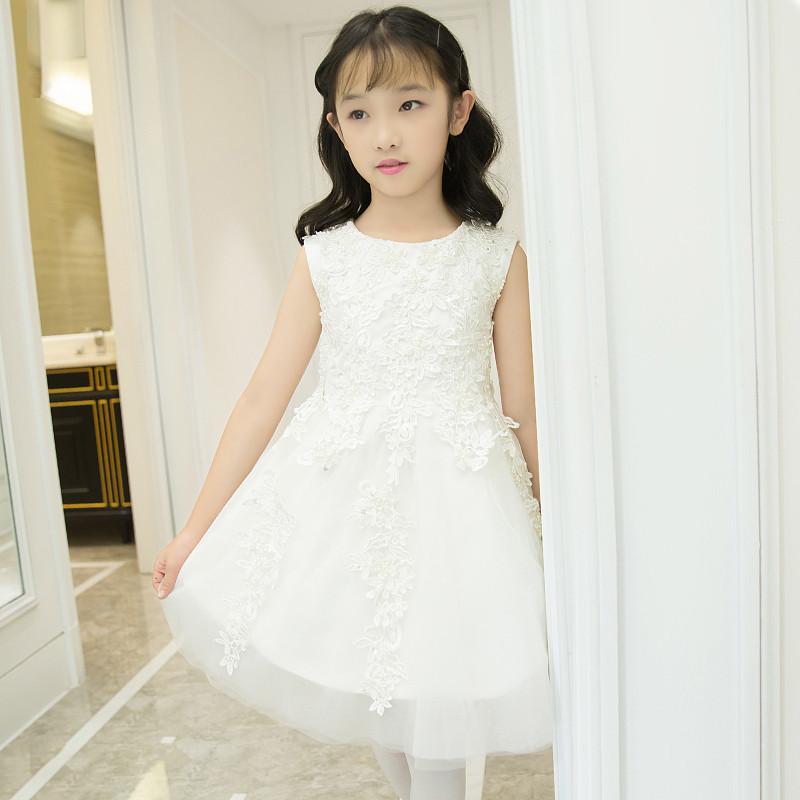 娉语儿童礼服女童蓬蓬裙晚礼服公主裙白色花童婚纱演出服装连衣裙走秀