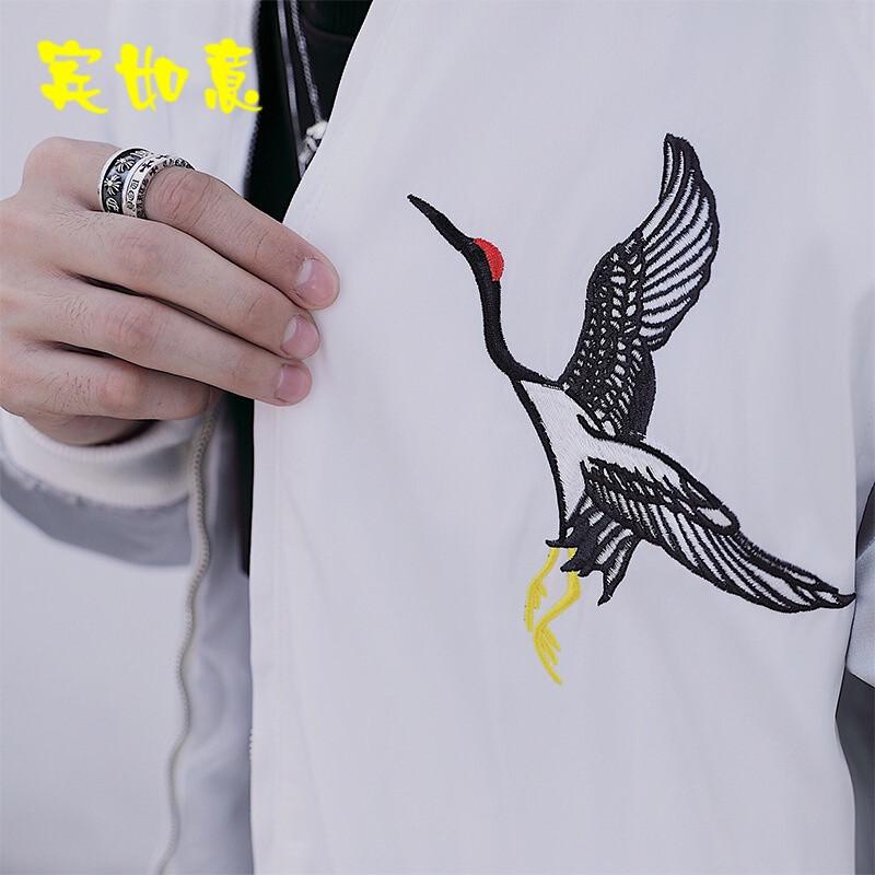 中国风新款秋装男士修身仙鹤刺绣大码棉衣外套情侣加厚夹克白色