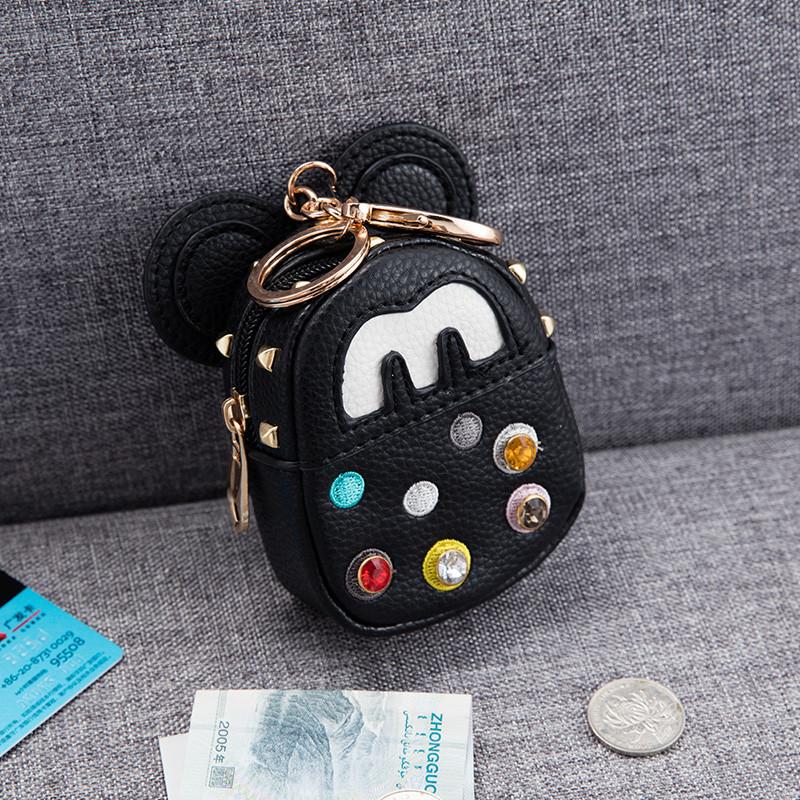 2017韩国个性米奇钥匙包零钱包可爱铆钉迷你小书包女汽车钥匙扣包挂件