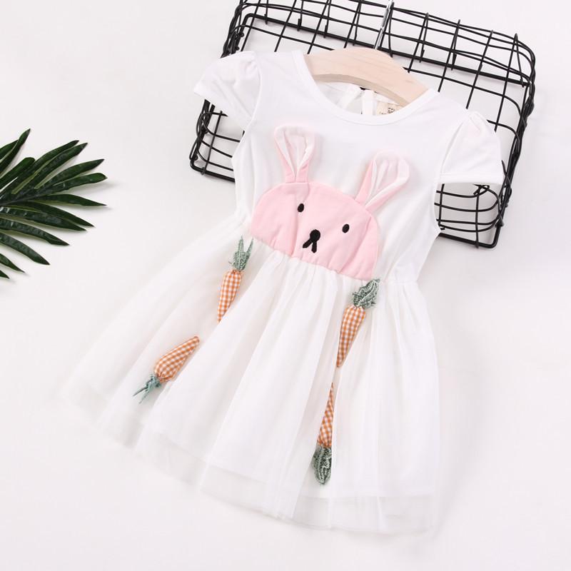 娉语女童连衣裙2018夏装新款儿童兔子耳朵拼接网纱公主裙宝宝可爱裙子