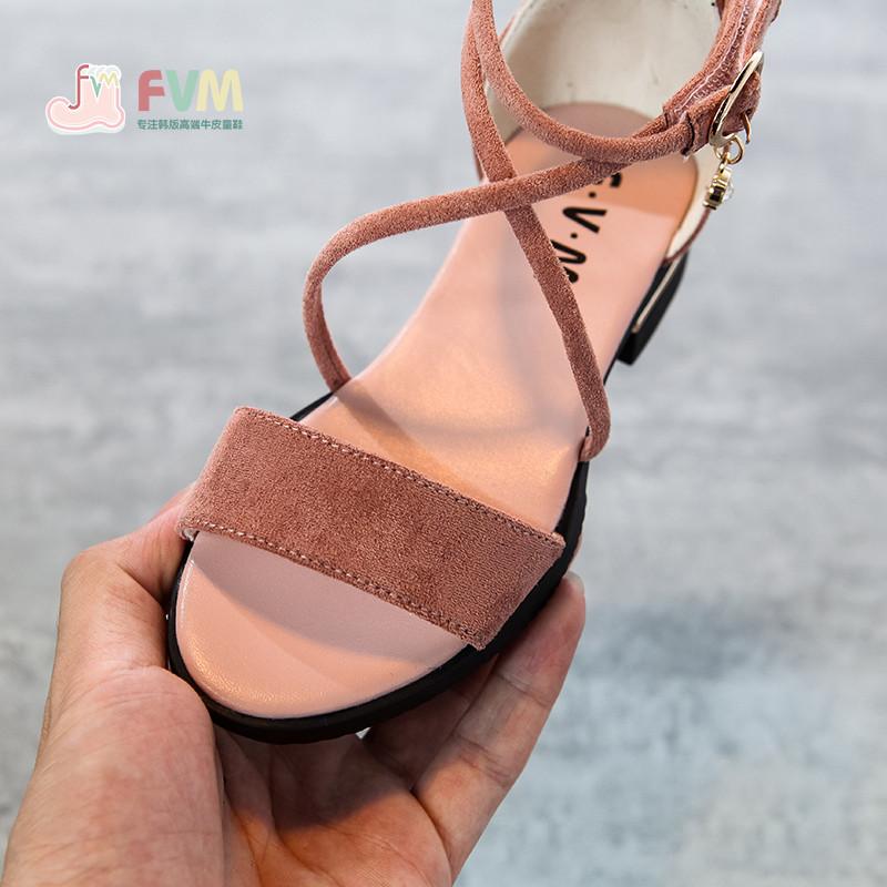娉语女童罗马凉鞋2018新款夏季韩版儿童公主小女孩高跟绑带中大童鞋潮