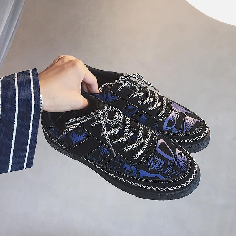 娉语秋季新款复古低帮鞋创意民族花纹休闲鞋男韩版青年板鞋潮鞋子潮流