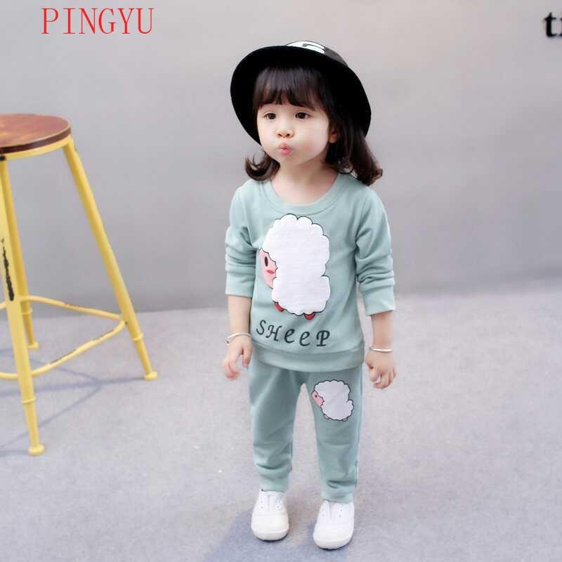 秋装2018新款小孩纯棉长袖绿色卫衣两件套儿童衣服可爱套装潮流时尚