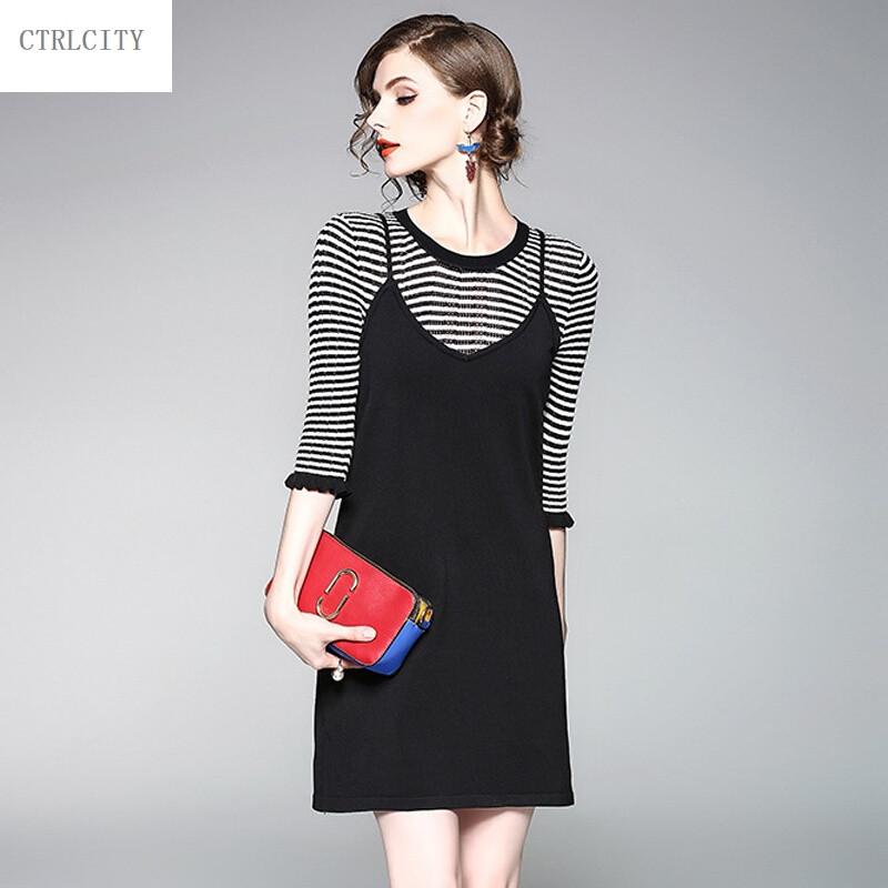 ctrlcity欧美秋装新款圆领中袖百搭针织衫收腰吊带连衣裙套装裙两件套