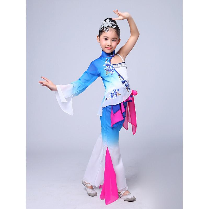 ctrlcity儿童古典舞蹈秧歌服演出服新款扇子舞伞舞表演服民族舞蹈服装