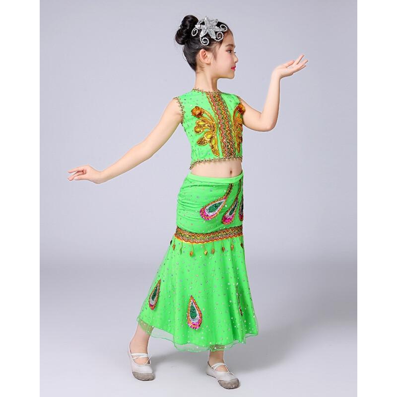 ctrlcity儿童孔雀舞傣族舞蹈演出服装女童少儿傣族鱼尾裙少数民族表演
