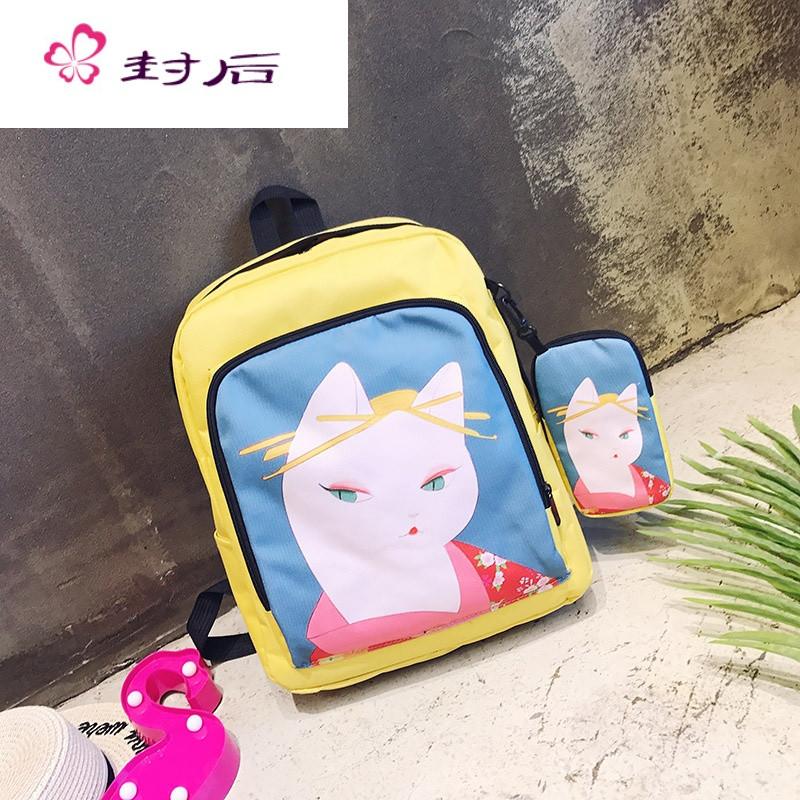 封后复古学院风 可爱少女萌物猫咪系列 可爱组合街拍印画双肩包背包