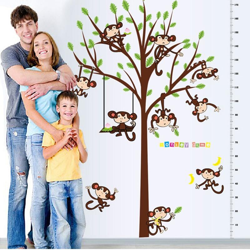 宜佳蕙 宝宝房墙贴幼儿园身高贴纸 卡通动物大树猴子测量身高尺 儿童