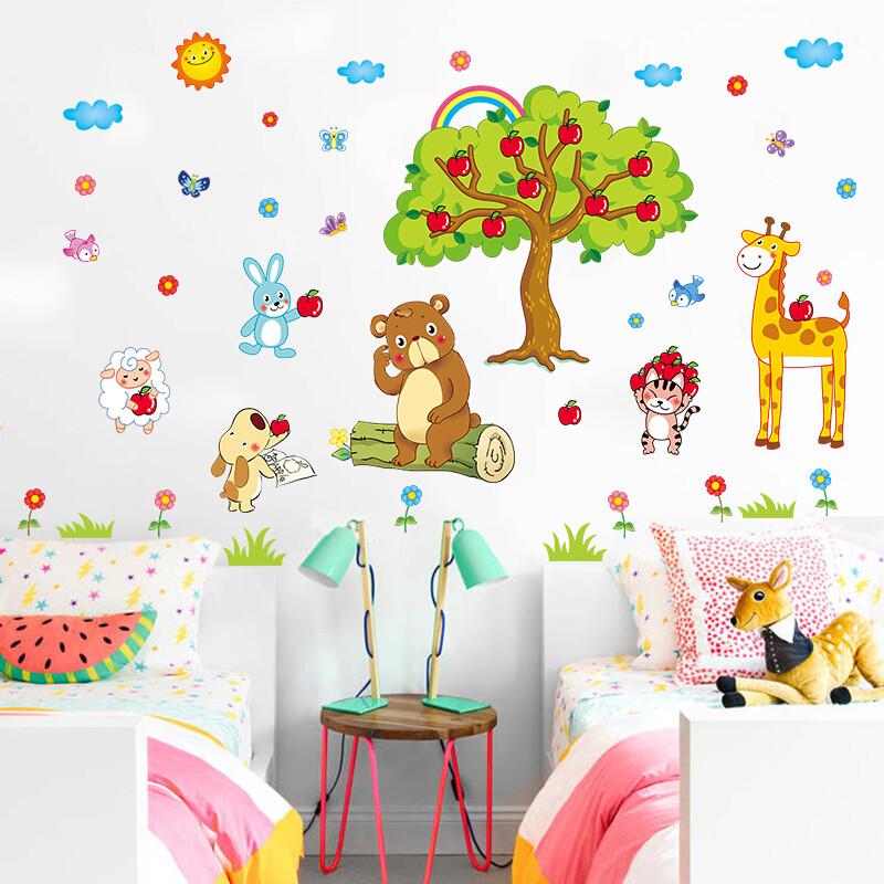 宜佳蕙yjh幼儿园墙壁上装饰墙纸贴画宝宝卧室儿童房间卡通动物可移除